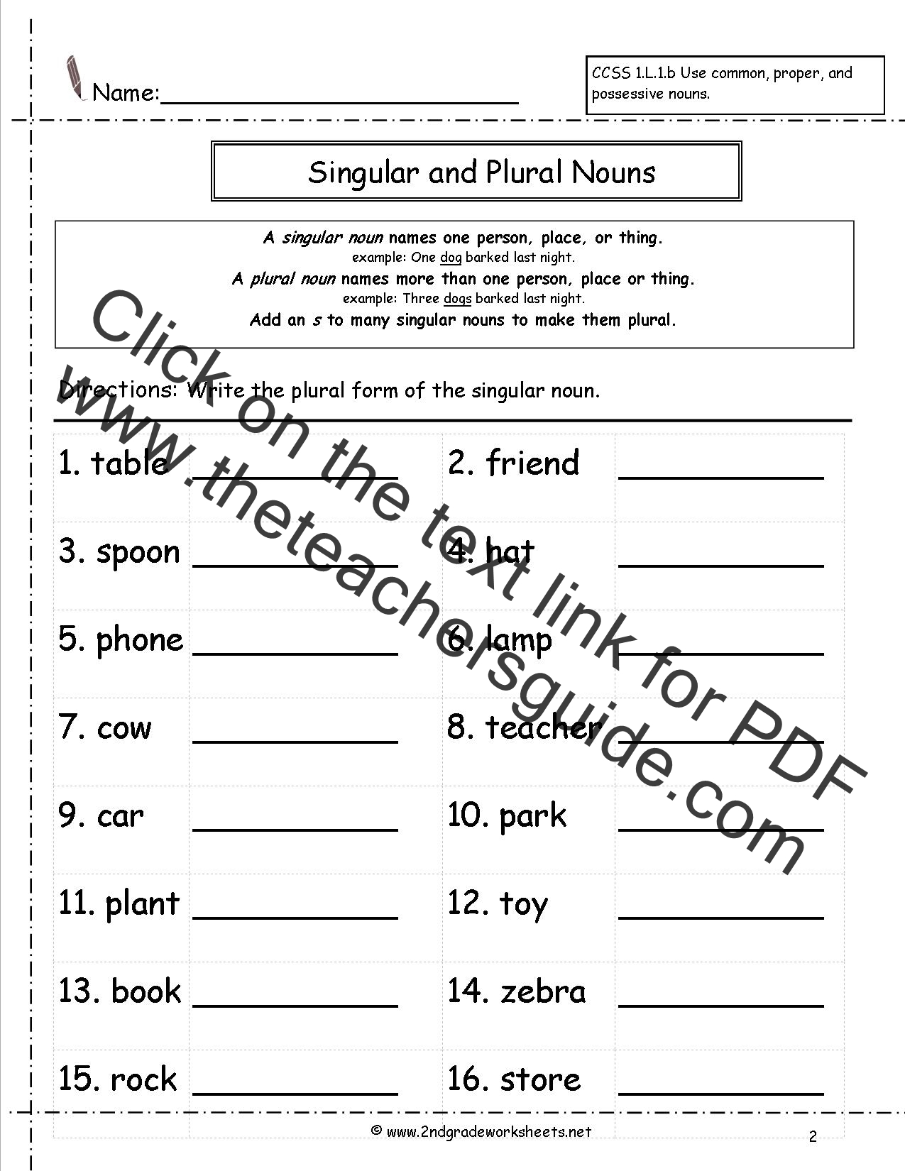 Irregular Plural Nouns Worksheet Grade 3