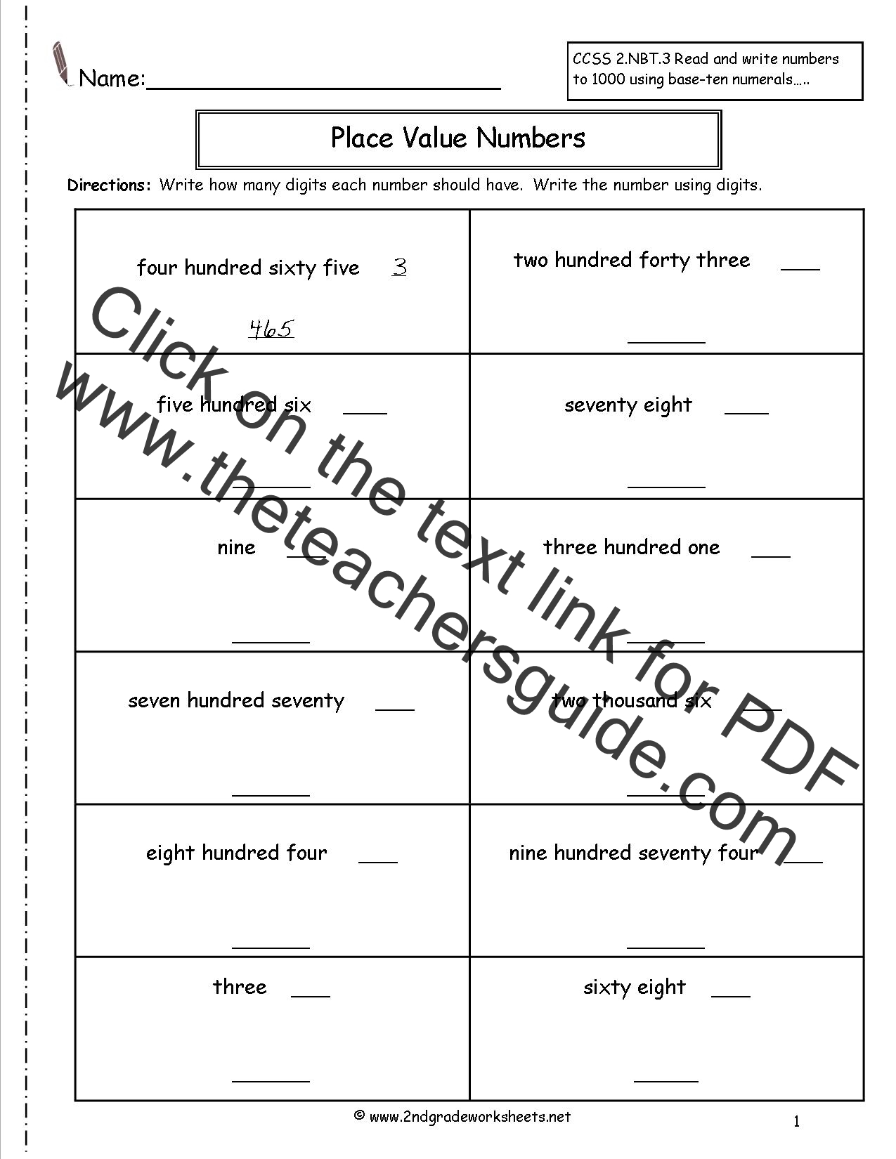3 Digit Base Ten Blocks Worksheet