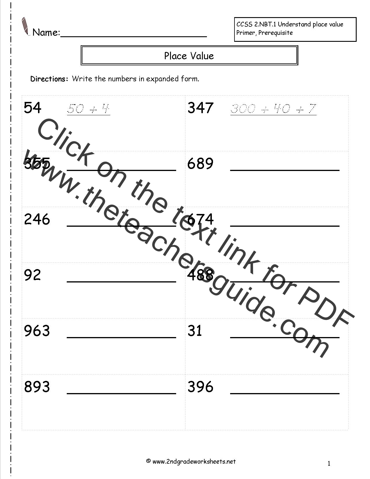 Writing A Two Digit Number Printable