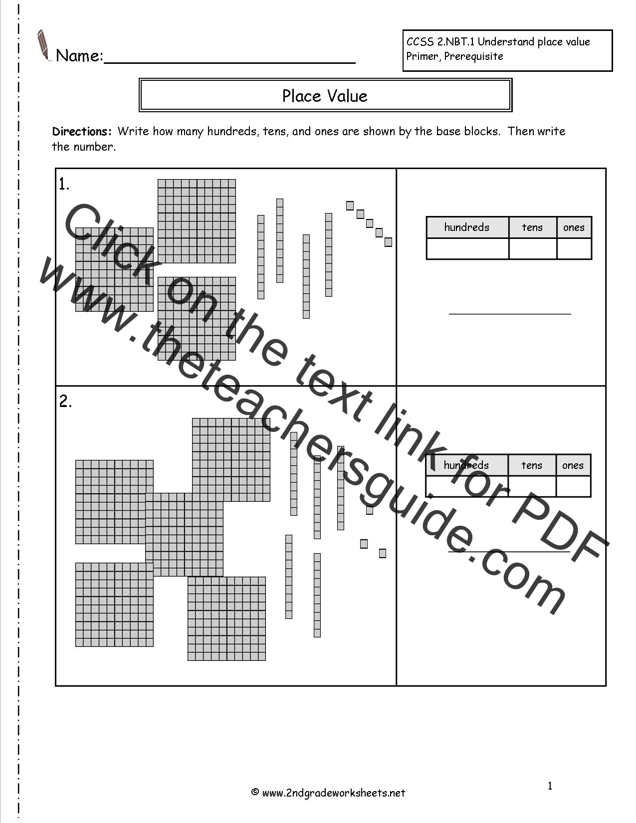 Place Value For Math Free Worksheet For 3rd Grade