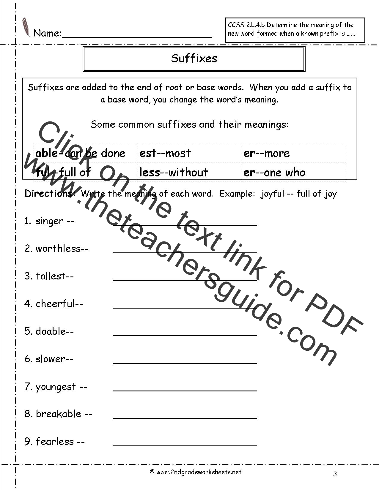 Prefix And Suffix Worksheets 3rd Grade