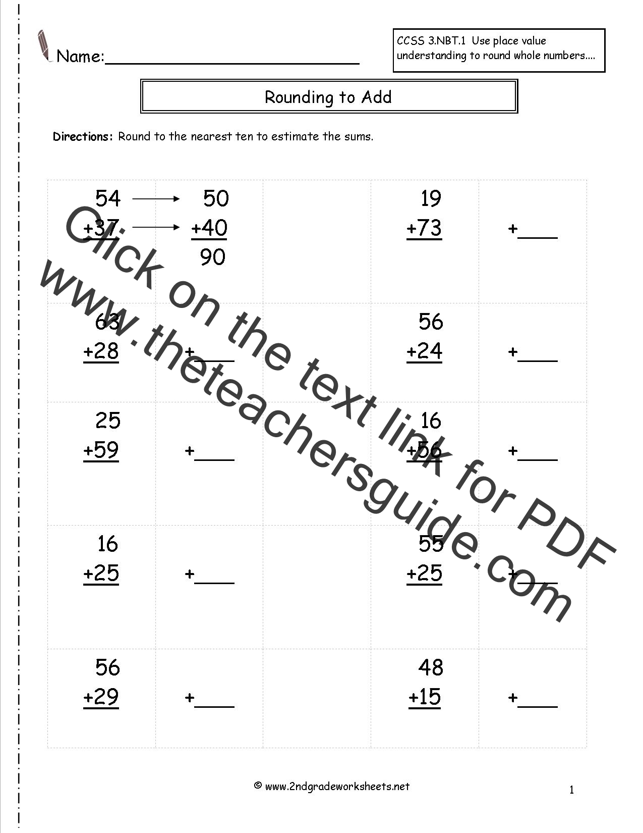 Rounding Whole Numbers Worksheets