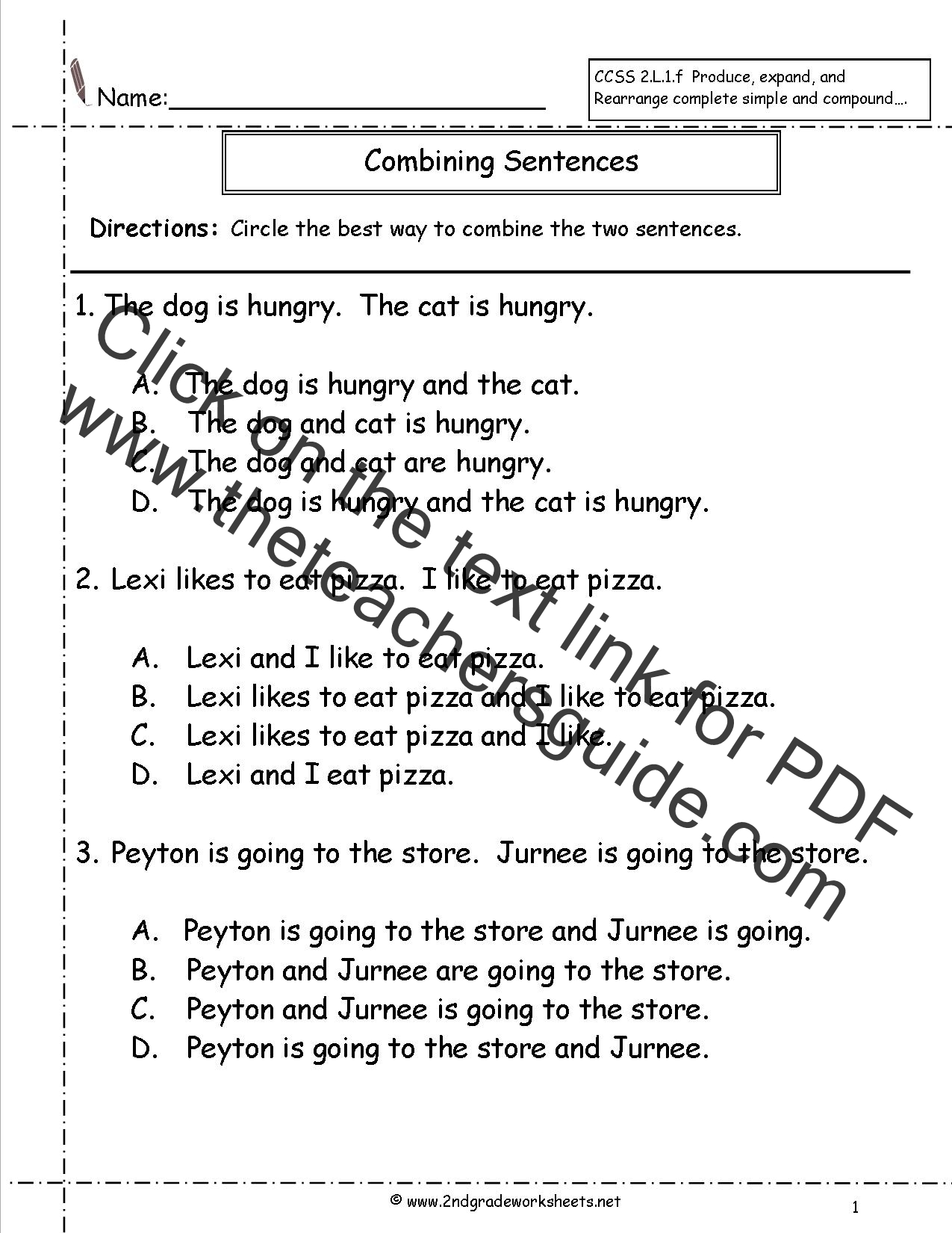 Sentence Editing Worksheet 2nd Grade