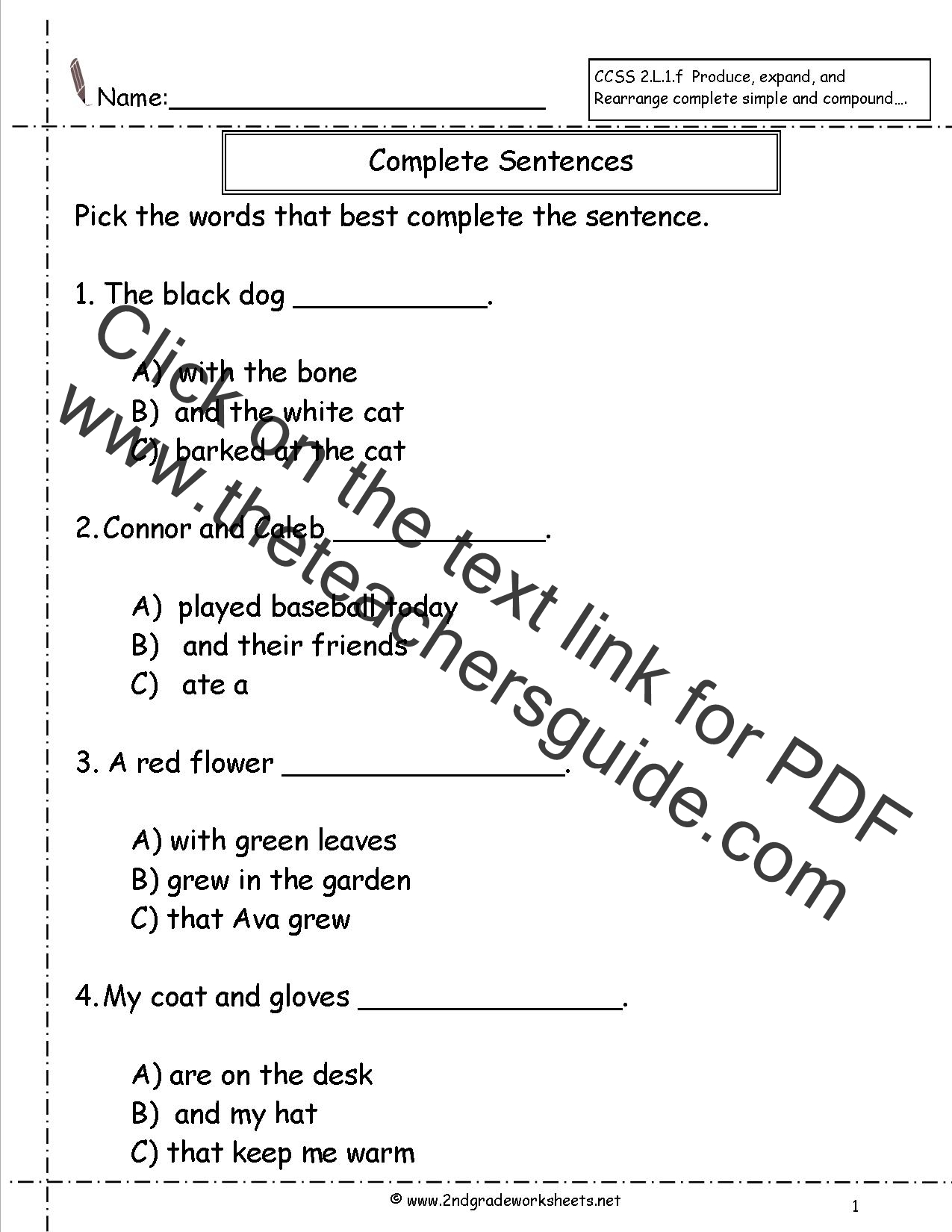 2nd Grade Ela Worksheet Fill In The Blank