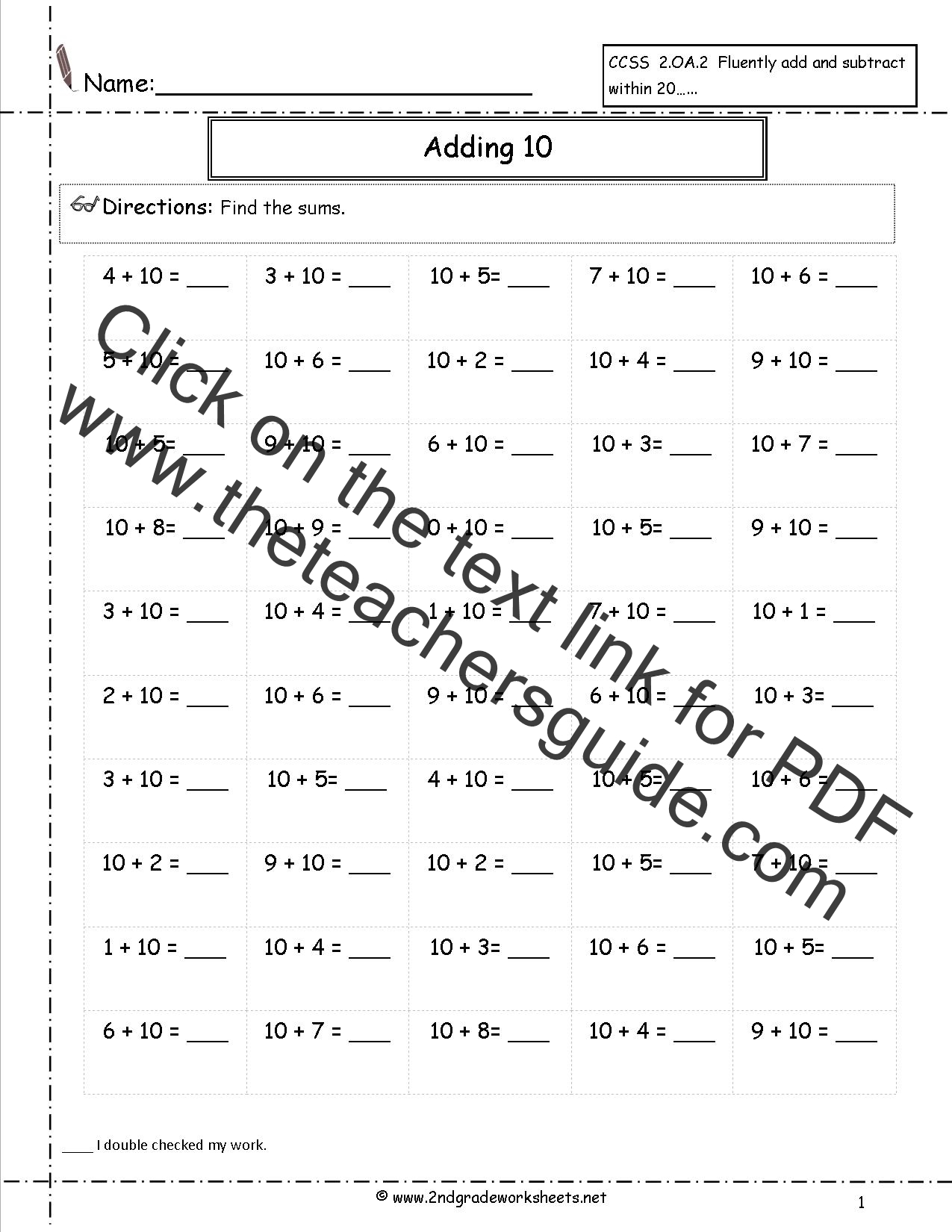 Free Single Digit Addition Worksheets