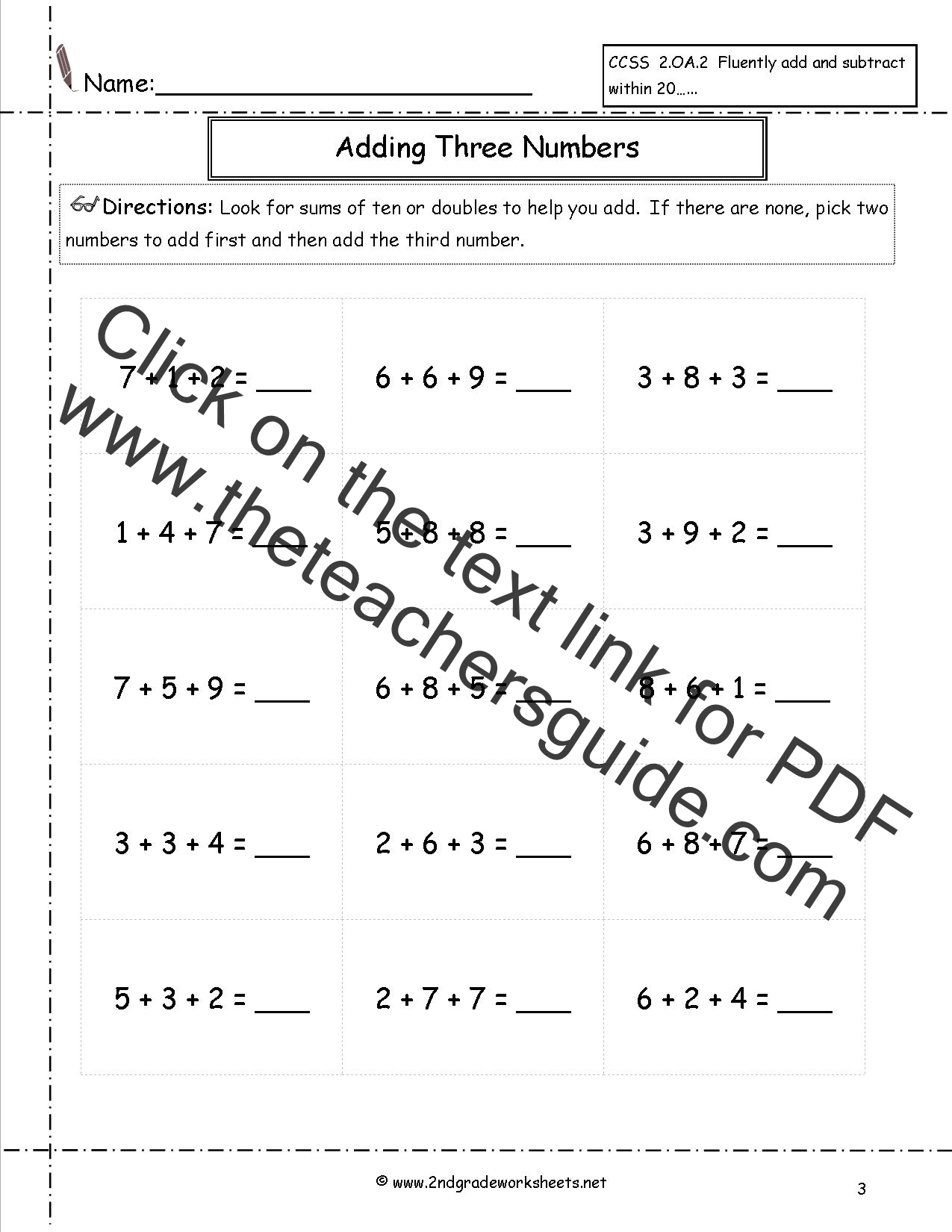 Worksheet Adding Large Numbers