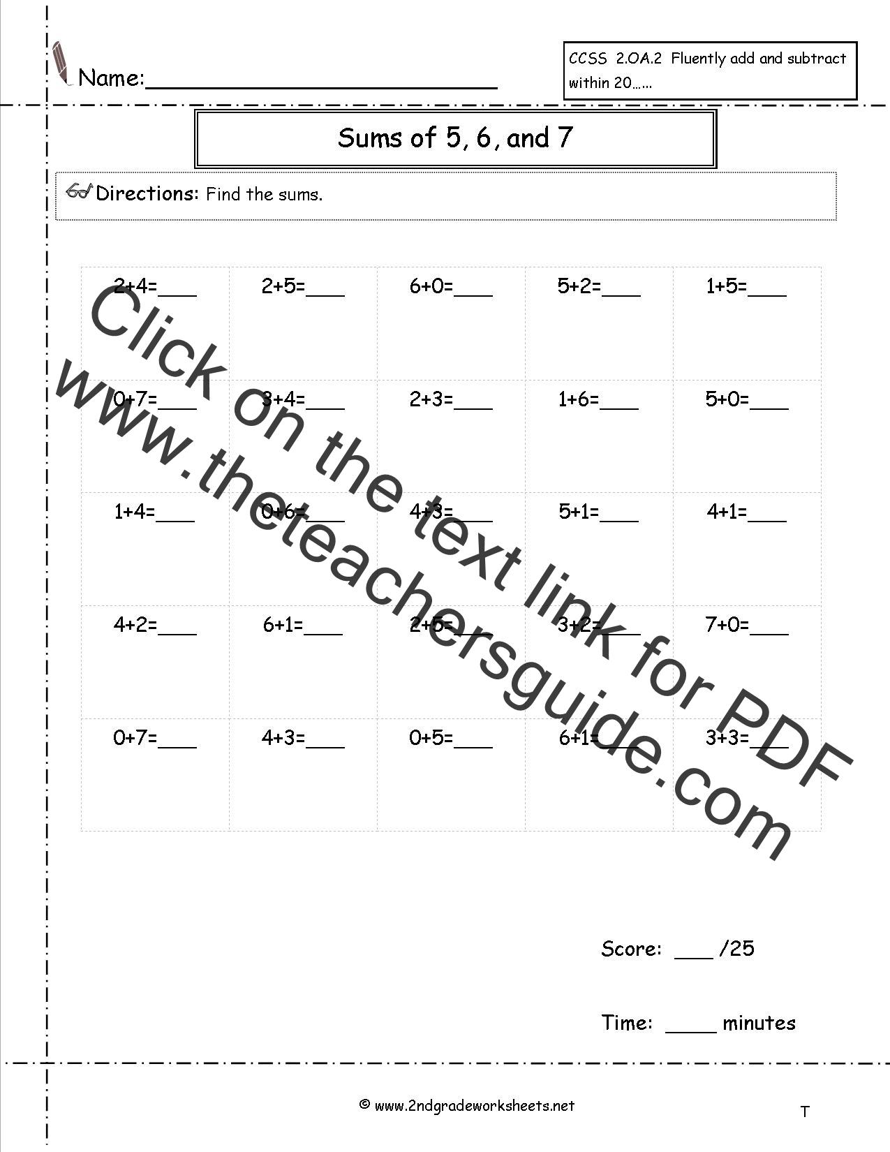 Free Single Digit Addition Worksheets