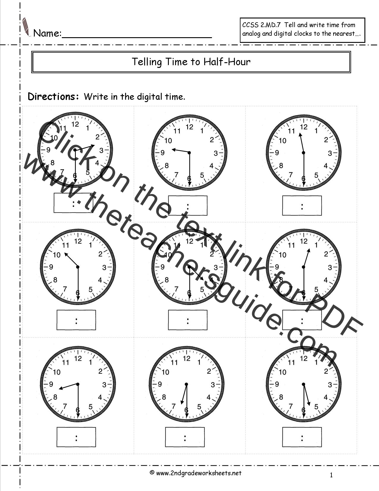 Ccss 2 7 Worksheets Telling Time To Five Minutes