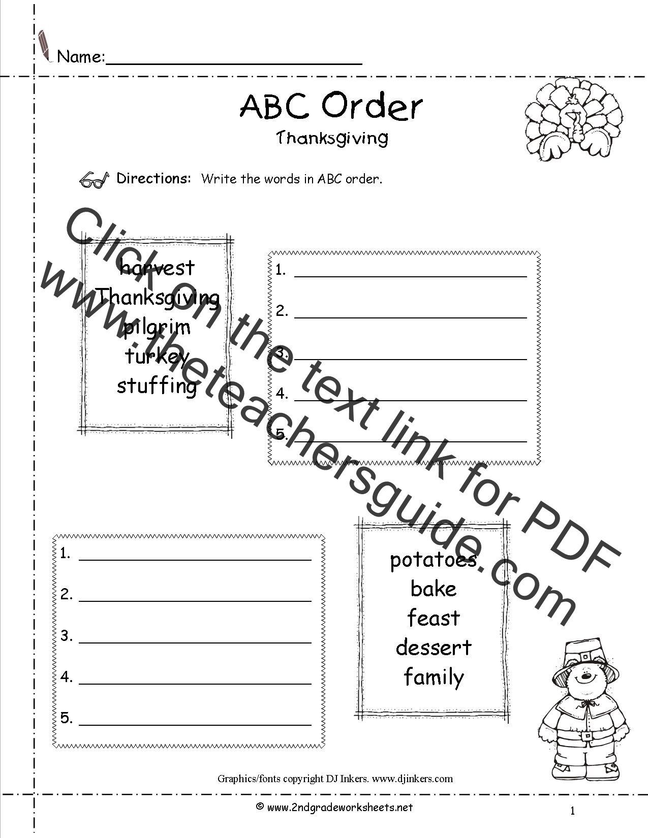 Thanksgiving Tally Worksheet