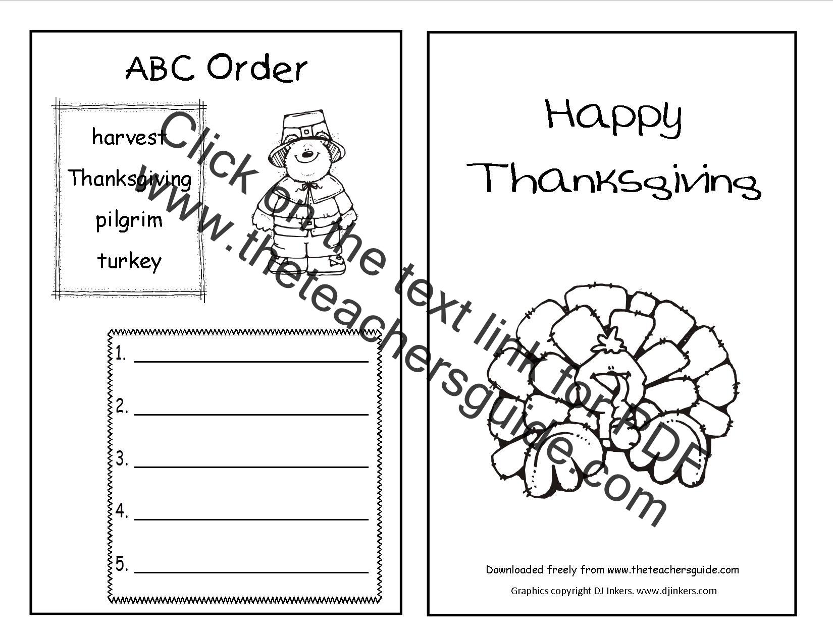 Thanksgiving Tally Worksheet