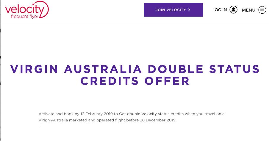 Velocity – Virgin Australia – Double Status Credits for Feb 2nd 2019