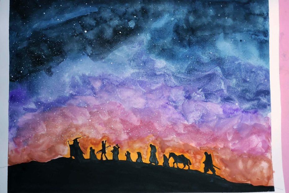Watercolor painting depicting a starry, sunset sky, the characters from Lord of the Rings, the Fellowship of the Ring in silhouette.