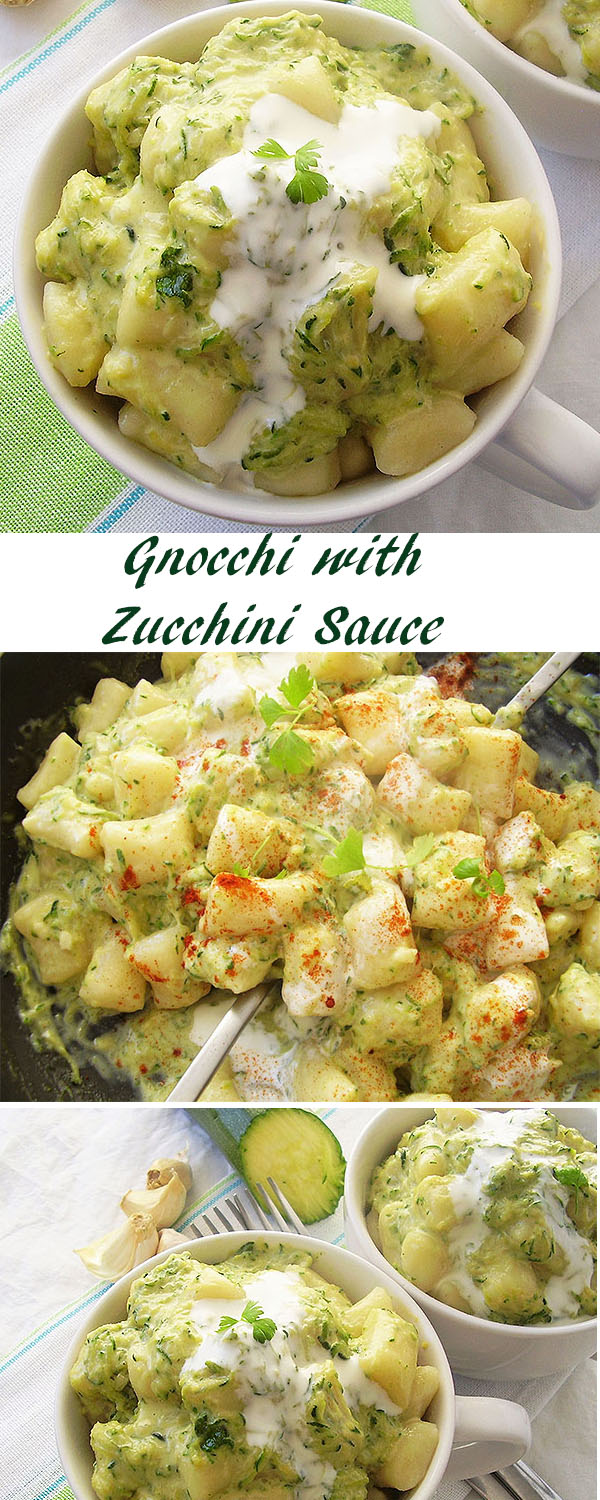 Gnocchi with Zucchini Sauce - excellent lunch or dinner made of zucchinis, gnocchi and drippings.