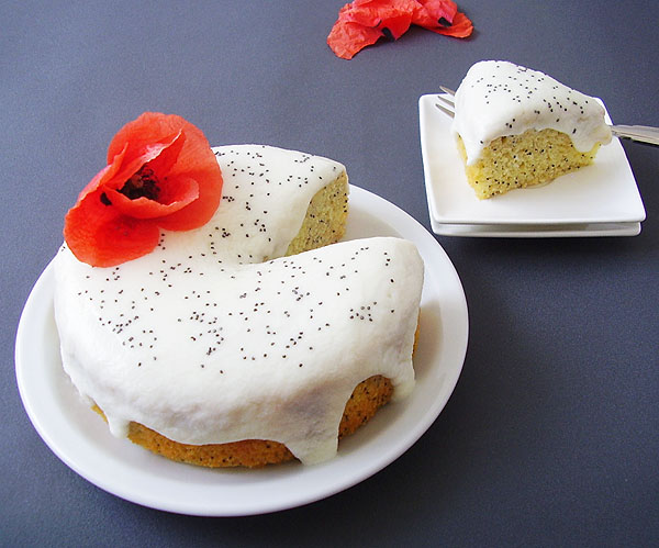 Lemon Yogurt Poppy Seed Cake decorated with poppy flower is light and attractive cake, easy to make.