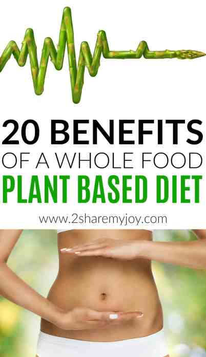 20 benefits of a whole food plant based diet backed up by studies. Choosing a vegan diet to prevent diseases like heart disease, high blood pressure, acne, eczema, diabetes, cancer, kidney stone, insulin resistance. A plant based diet will also help with weight loss, boosting your immune system and is by far the healthiest diet out there. The best part: you can get all the calcium, iron, magnesium, fiber, and protein you need on a whole food plant based diet! #wholefoodplantbased #vegandiet #healthiestdiet