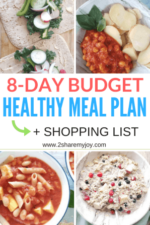 8 day budget meal plan for a healthy diet. low fat vegan recipes on a budget for the whole family with shopping list. #mealplan #vegan #plantbased #onabudget