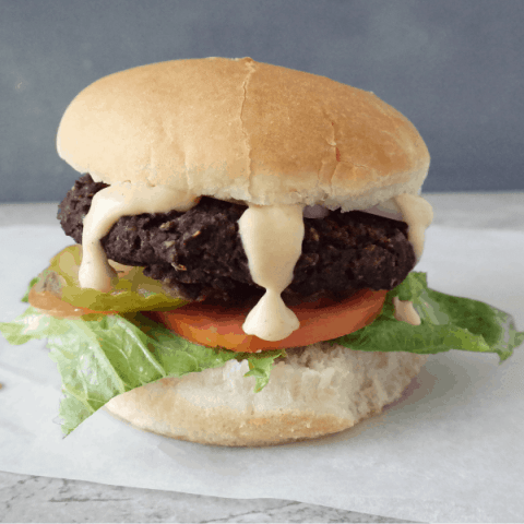 Easy Black Bean Mushroom Burger (vegan, gluten free)