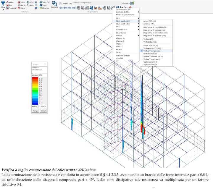 PROSAP: mappa delle verifiche a taglio lato calcestruzzo per le pareti duttili