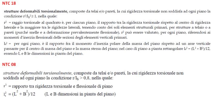 Metodo per verificare se una struttura è deformabile torsionalmente o meno. Confronto tra NTC08 e NTC18