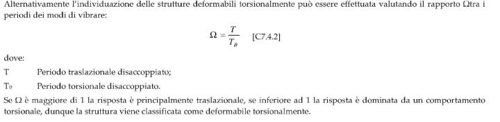 Metodo alternativo proposto dalla circolare 21 Gennaio 2019 per verificare se una struttura è deformabile torsionalmente o meno.