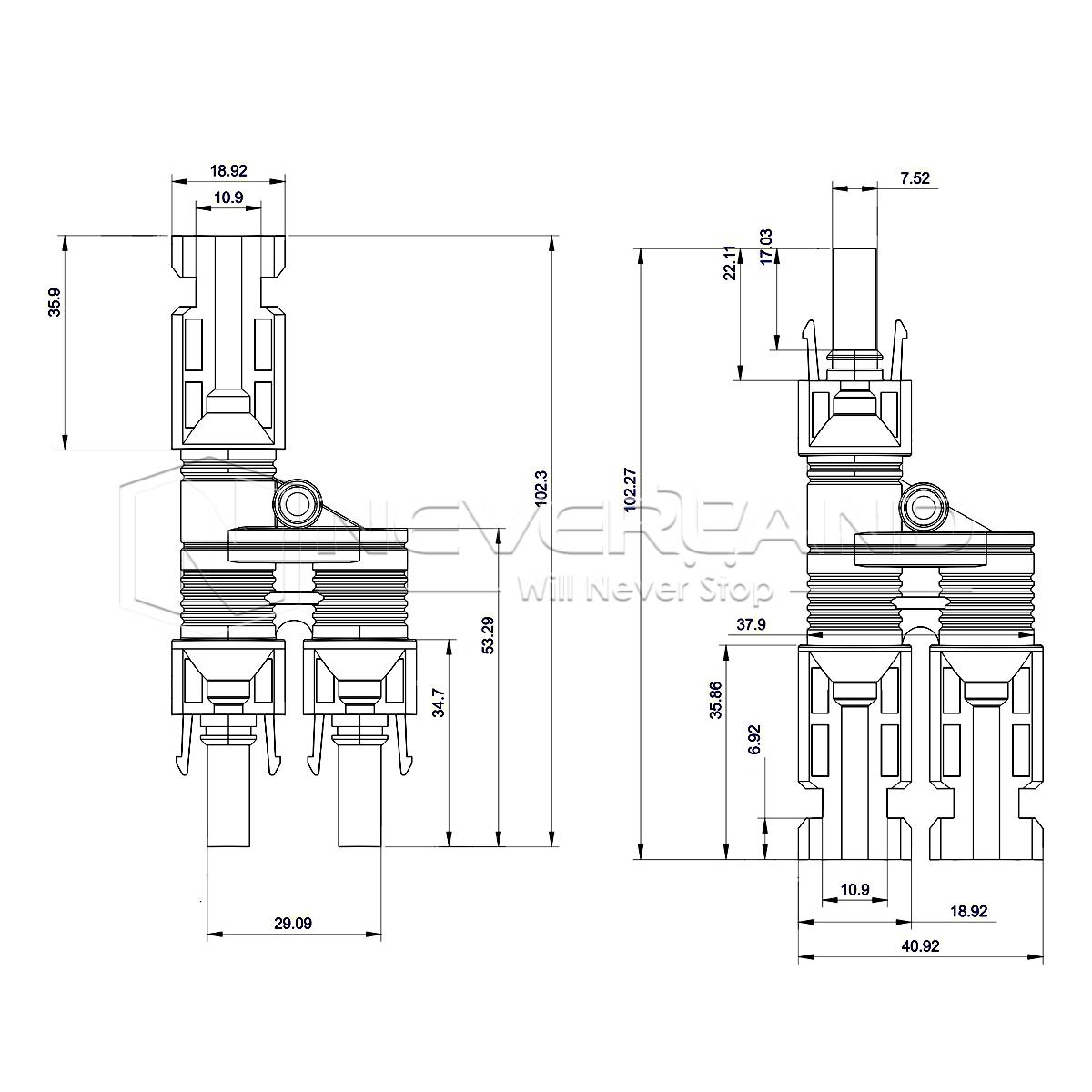 Mc4 Stecker Verzweigungsstecker Solarstecker Buchse