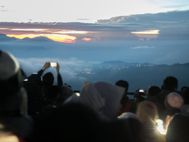 Crowds gathering for sunrise