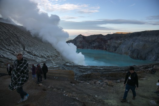 The Ijen crater vents corrosive sulphuric gases