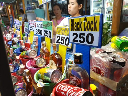 Buying bucket alcohol during the full moon party in Koh Phangan
