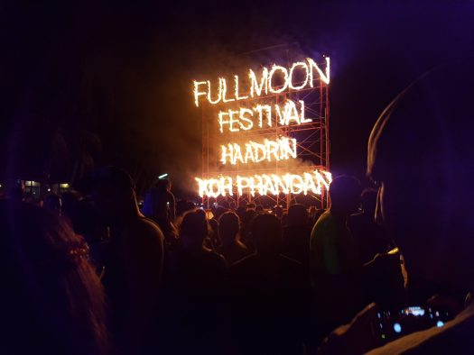 Flaming sign in full moon party Thailand