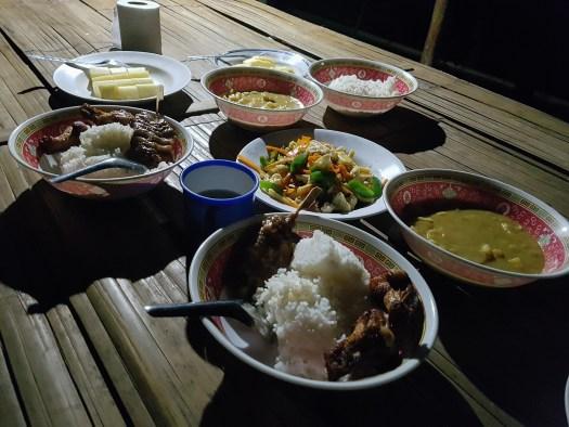 A lavish dinner in the jungle camp