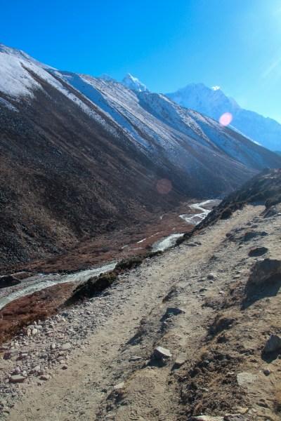 A river runs along the valley from Lobuche