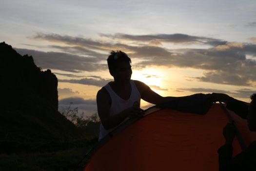 Setting up the tent before nightfall