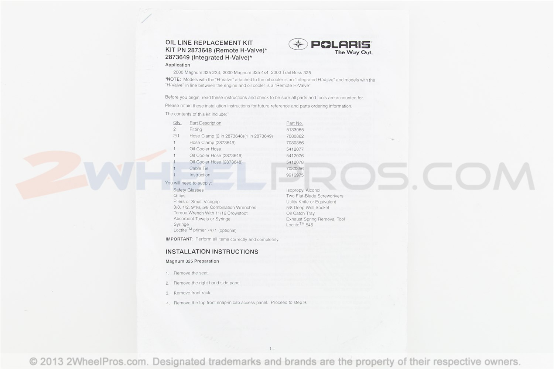 Polaris Kit Oil Hose Integrated Valve 211 28