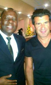 Luis Figo with the GM of Holiday Inn Bulawayo- Chiku Mulinde.