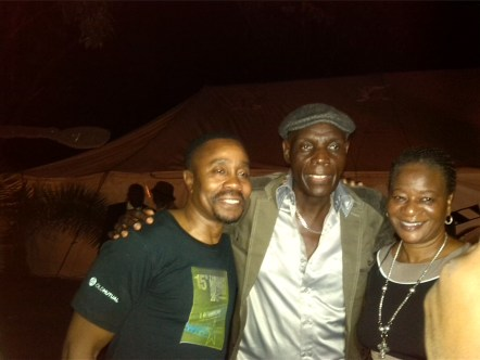 Vusi Kunene (Left) with Zimbabwean superstar Oliver Mtukjudzi and his wife Daisy at the Zimbabwe Film Festival