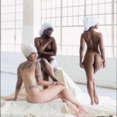 Boity on the right posed naked for the Naked Campaign - All Rights Marie Claire