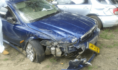 Stunner's car after accident