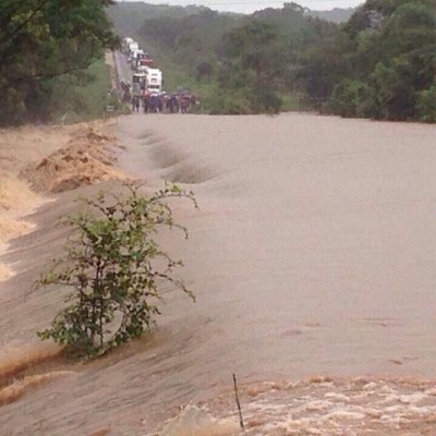 Flooded river in Mashonaland West, Zimbabwe