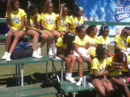 Zim cheerleaders at Dairibord Schools Rugby Festival