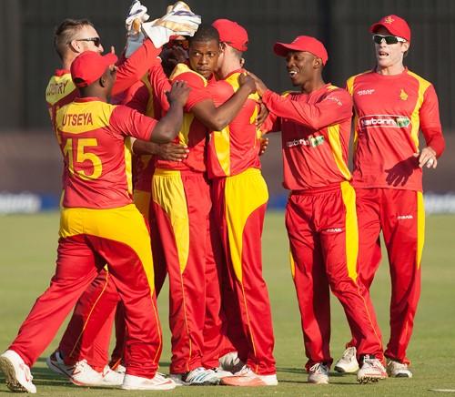 Zimbabwe players celebrate after taking a wicket PIC: Zimbabwe Cricket