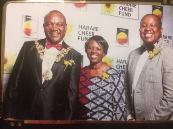 Mayor Bernard Manyenyeni, his wife Fran & Harare Mayor's Cheer Fund Chairperson Tendayi Mashingaidze