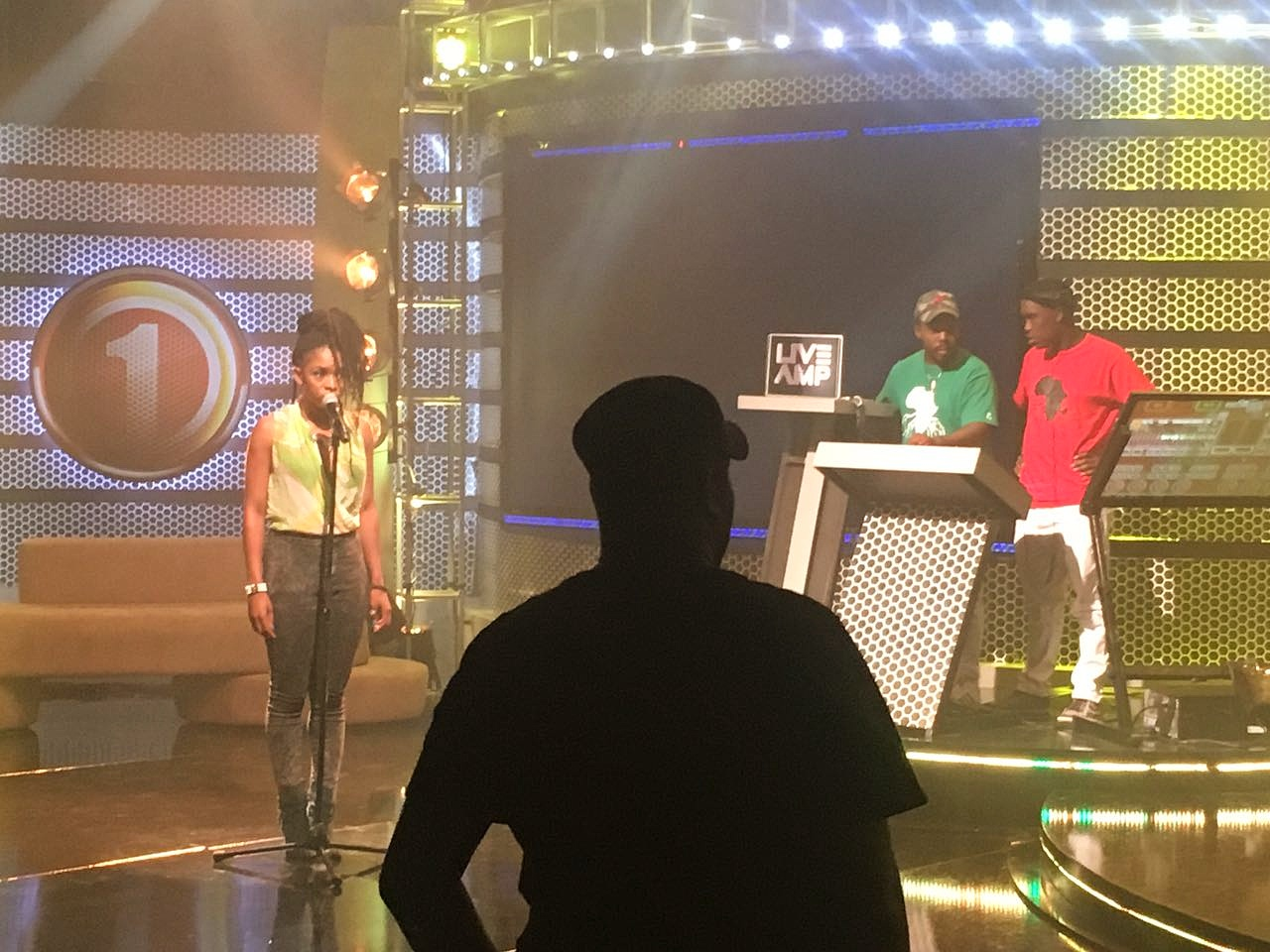 Crimson Blu on stage before performing SABC1s Live Amp