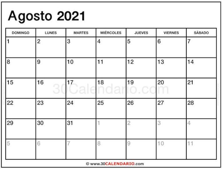 Descargar Agosto 2021 Calendario con Festival y Vacaciones