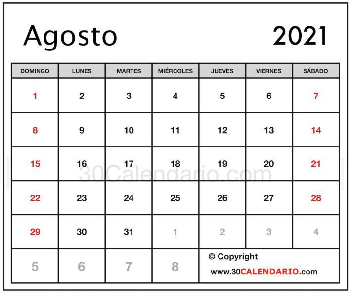 Calendario en blanco Agosto 2021 Para Completar Imprimir