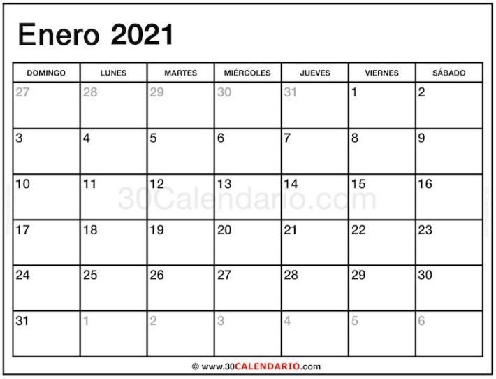 Calendario mensual Enero 2021 con las fechas de la semana comienzan el domingo