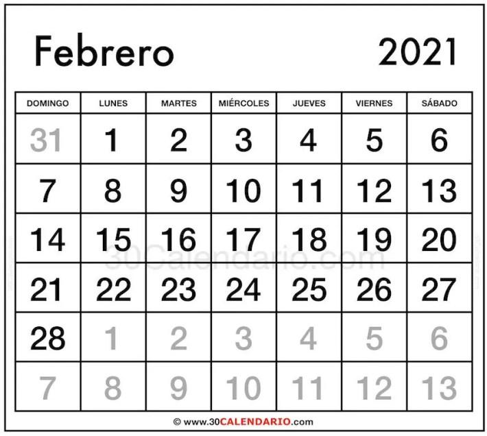 Calendario Febrero 2021 En Excel Para Imprimir Gratis