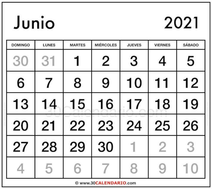 Weekly Calendar Junio 2021 Plantilla editable para la escuela