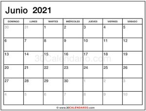Plantilla mensual de Junio Calendario 2021 en blanco