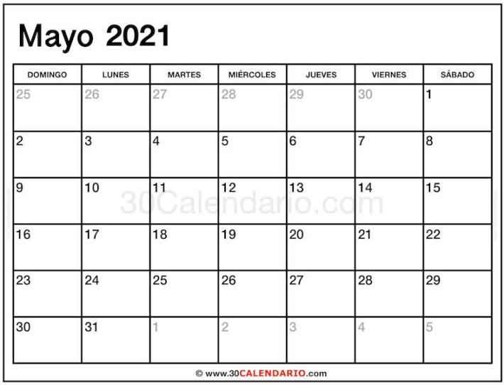 Imprimir Mayo 2021 Calendario Mensual gratuito