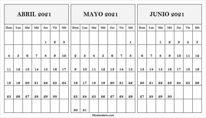 2021 Calendario Abril a Junio